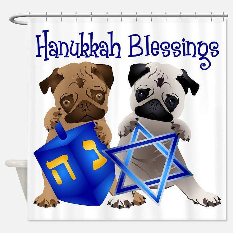 Hanukkah Blessings Shower Curtain