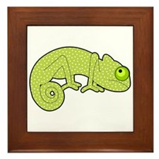 Cute Green Polka Dot Chameleon Framed Tile