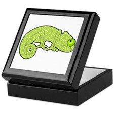 Cute Green Polka Dot Chameleon Keepsake Box