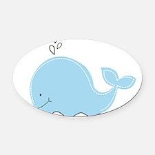 Little Blue Whale Oval Car Magnet