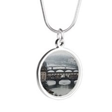 Bridges of Florence Italy Silver Round Necklace