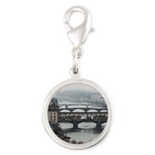 Bridges of Florence Italy Silver Round Charm