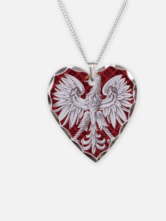 Polish Eagle Plaid Crest Necklace