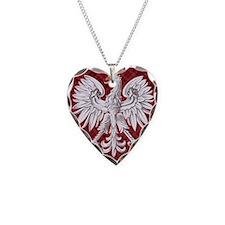 Polish Eagle Plaid Crest Necklace Heart Charm