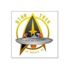 "startrekship01black Square Sticker 3"" x 3"""
