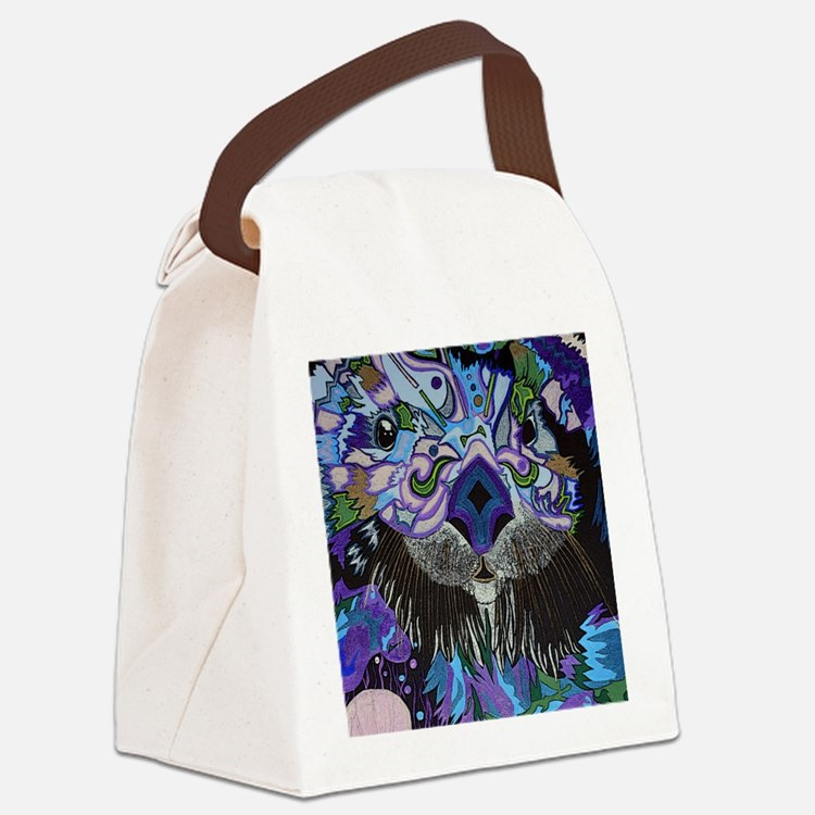 otter-posterized-cropped Canvas Lunch Bag