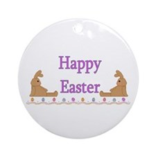 Happy Easter Bunnies Ornament (Round)