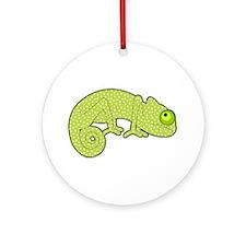 Cute Green Polka Dot Chameleon Ornament (Round)