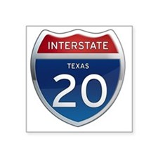 "Interstate 20 - Texas Square Sticker 3"" x 3"""
