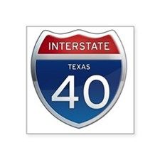 "Interstate 40 - Texas Square Sticker 3"" x 3"""