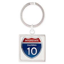 Interstate 10 - California Square Keychain