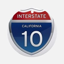 Interstate 10 - California Round Ornament