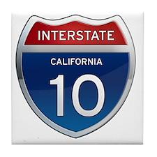 Interstate 10 - California Tile Coaster