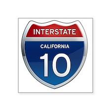"Interstate 10 - California Square Sticker 3"" x 3"""