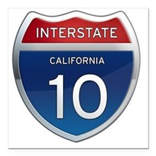 "Interstate 10 - Californ Square Car Magnet 3"" x 3"""