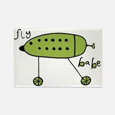 Fly Babe - Green Rectangle Magnet