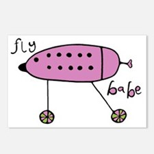 Fly Babe- Pink Postcards (Package of 8)