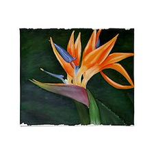 Bird of Paradise (Oil) with frame Throw Blanket