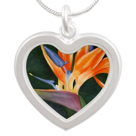 Bird of Paradise (Oil) with Silver Heart Necklace