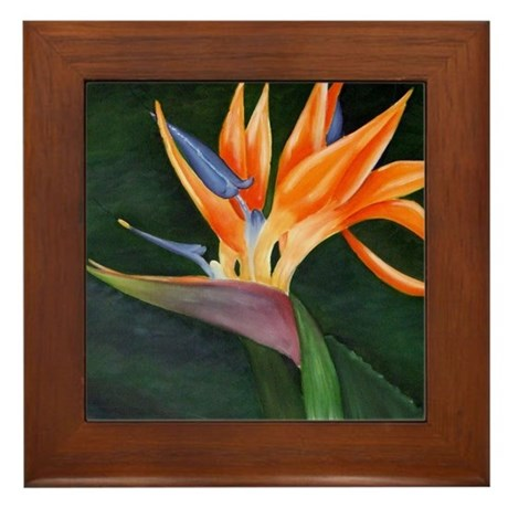 Bird of Paradise (Oil) with frame Framed Tile
