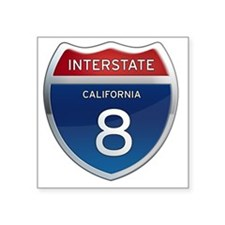 "Interstate 8 - California Square Sticker 3"" x 3"""
