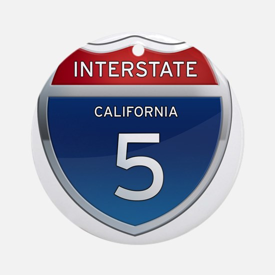 Interstate 5 - California Round Ornament