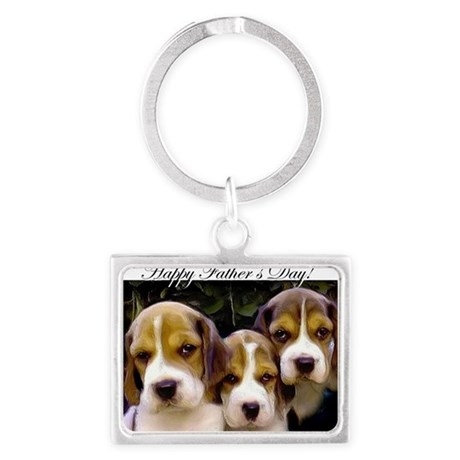 fathers day beagle puppies Landscape Keychain