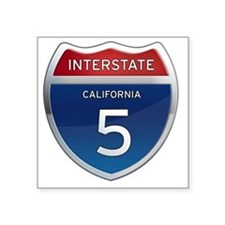 "Interstate 5 - California Square Sticker 3"" x 3"""