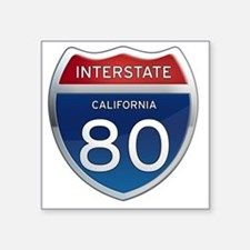 "Interstate 80 - California Square Sticker 3"" x 3"""