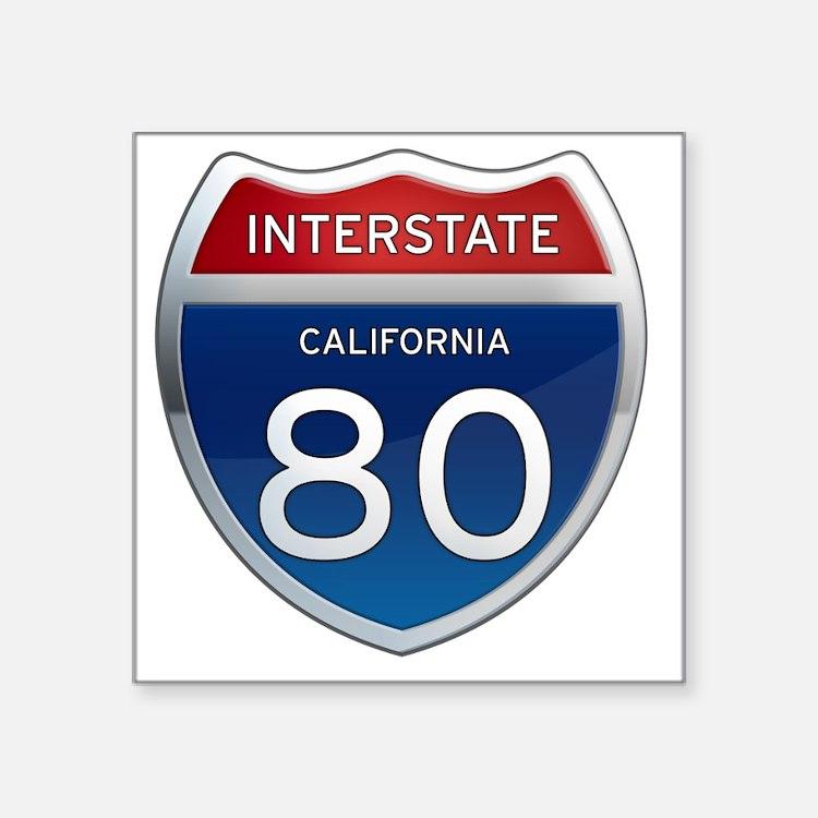 "Interstate 80 - California Square Sticker 3"" x 3"""