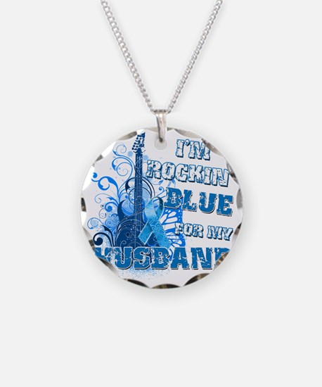 Im Rockin Blue for my Husban Necklace Circle Charm