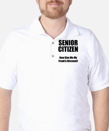 Senior Citizen Black Golf Shirt