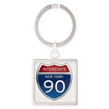 Interstate 90 - New York Square Keychain