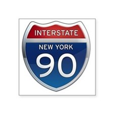 "Interstate 90 - New York Square Sticker 3"" x 3"""