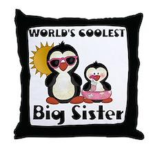 big sister penguin Throw Pillow