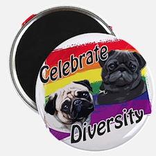 Celebrate Diversity Gay Pride Pugs Magnet