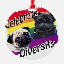 Celebrate Diversity Gay Pride Pugs Ornament