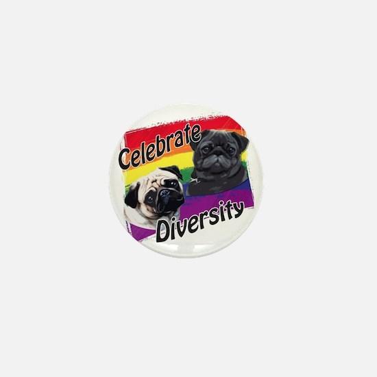 Celebrate Diversity Gay Pride Pugs Mini Button