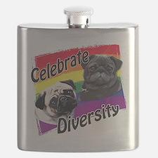 Celebrate Diversity Gay Pride Pugs Flask