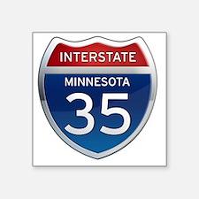 "Interstate 35 - Minnesota Square Sticker 3"" x 3"""