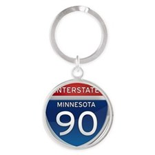 Interstate 90 - Minnesota Round Keychain