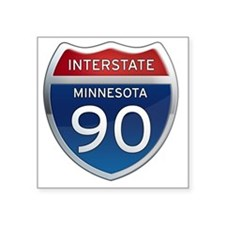 "Interstate 90 - Minnesota Square Sticker 3"" x 3"""
