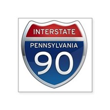 "Interstate 90 - Pennsylvani Square Sticker 3"" x 3"""