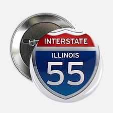 """Interstate 55 - Illinois 2.25"""" Button"""