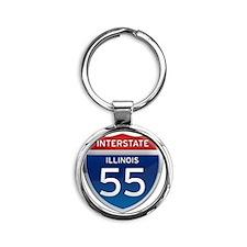 Interstate 55 - Illinois Round Keychain