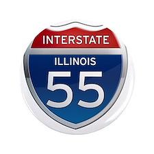 """Interstate 55 - Illinois 3.5"""" Button"""