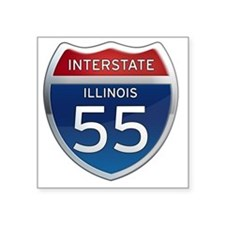 "Interstate 55 - Illinois Square Sticker 3"" x 3"""