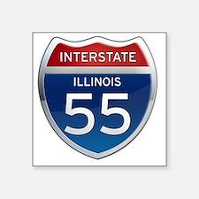 """Interstate 55 - Illinois Square Sticker 3"""" x 3"""""""