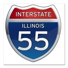 "Interstate 55 - Illinois Square Car Magnet 3"" x 3"""
