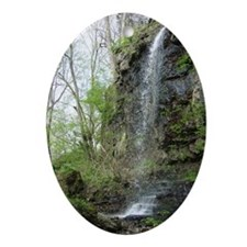 YellowSpringsWaterfall-poster2 Oval Ornament